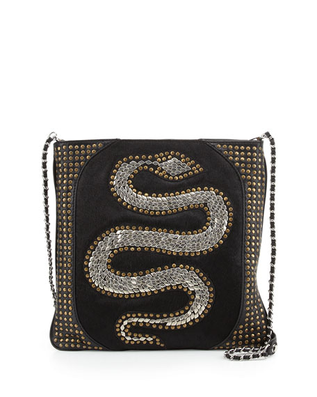 Genny Snake Studded Crossbody Bag, Black