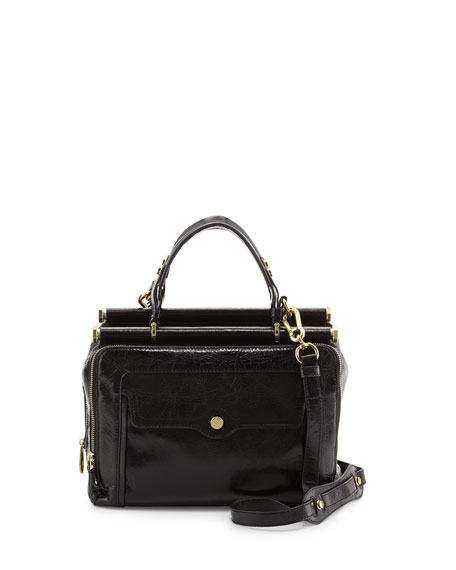 Clarisse Glazed Leather Medium Satchel Bag, Black