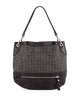 Oryany Faye Chain Weave Hobo Bag, Black