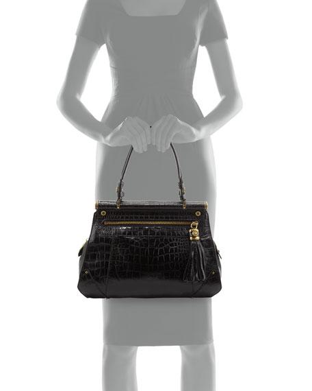 Zoe Croc-Embossed Leather Shopper Bag, Black