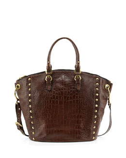 Oryany Mila Croc-Embossed Leather Tote Bag, Coffee
