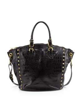 Oryany Mila Croc-Print Leather Tote Bag, Black