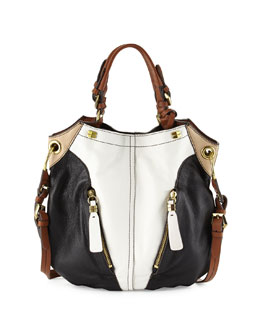 Oryany Victoria Colorblock Shoulder Bag, White/Multi