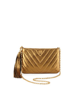 Eric Javits Mimi Metallic Tassel Clutch Bag, Bronze