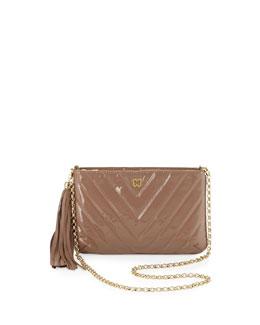 Eric Javits Mimi Patent Tassel Clutch Bag, Latte