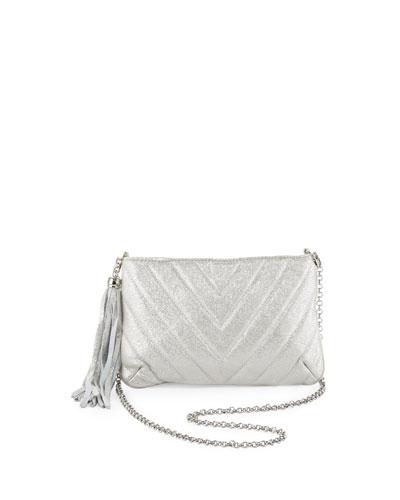 Eric Javits Mimi Metallic Tassel Clutch Bag, Silver