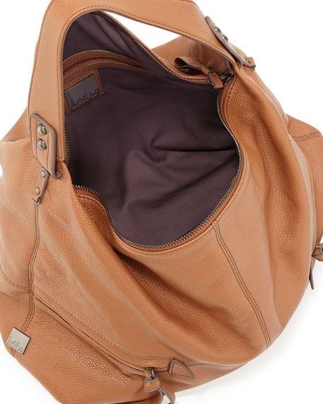 Crosby Pebbled Hobo Bag, Tan