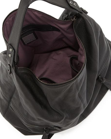 Crosby Pebbled Hobo Bag, Black
