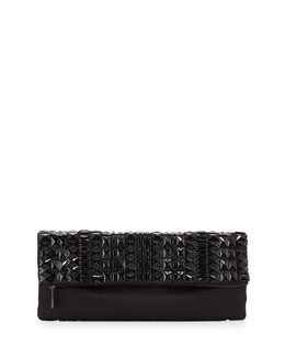 BCBGMAXAZRIA Rhianna Beaded Fold-Over Satin Clutch Bag, Black