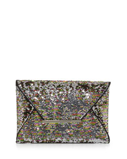 BCBGMAXAZRIA Harlow Signature Sequin Envelope Clutch Bag, Silver