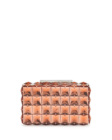 Lulu Square Crystal Clutch Bag, Pink Rose