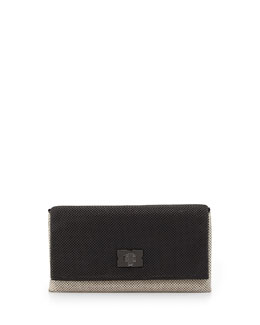 BCBGMAXAZRIA Blake Metal Mesh Clutch Bag, Nude/Black