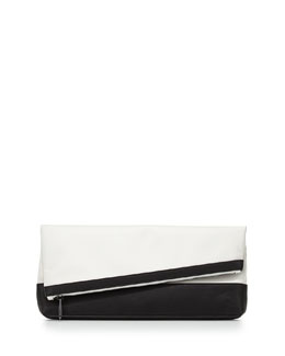 BCBGMAXAZRIA Asymmetric Fold-Over Clutch Bag, Black/White
