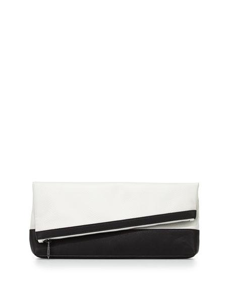Asymmetric Fold-Over Clutch Bag, Black/White