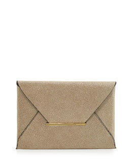 BCBGMAXAZRIA Harlow Signature Metallic Envelope Clutch Bag, Gold