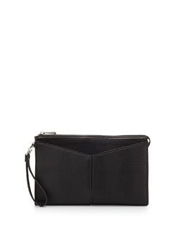 BCBGMAXAZRIA Angled Snake-Print Faux-Leather Clutch Bag, Black