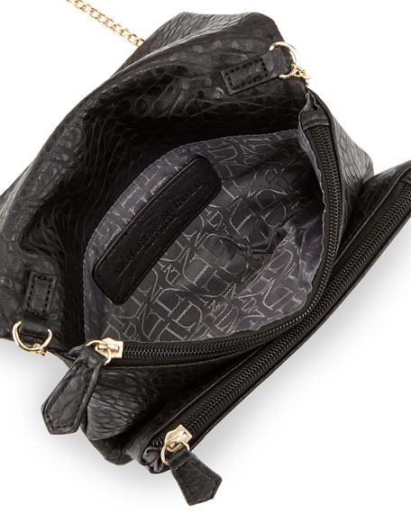 Libby Faux-Leather Flap Crossbody Bag, Black