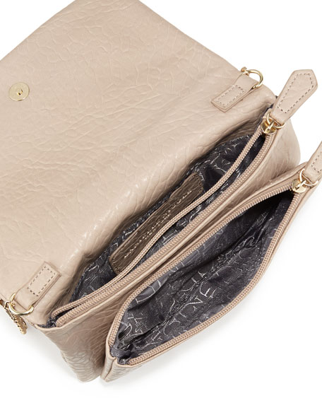 Libby Pebbled Faux-Leather Crossbody Bag, Taupe