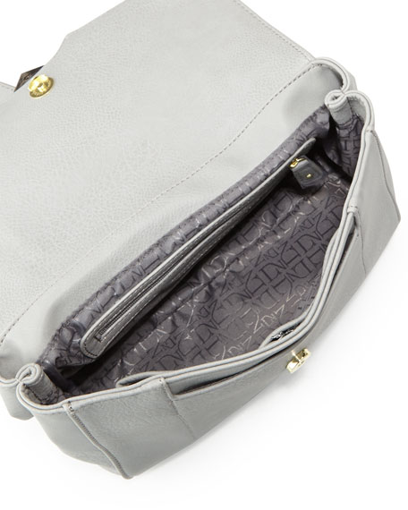 Jade Faux-Leather Flap Shoulder Bag, Gray