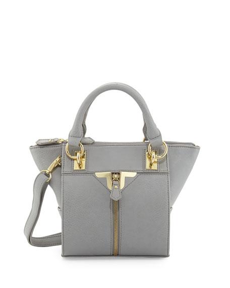 Alexa Zip-Front Mini Crossbody Bag, Gray