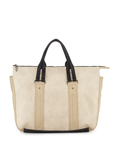 Colorblock Faux Leather Laser Tote Bag, Light Sand