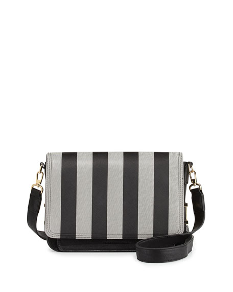Hunter Striped Mixed Texture Faux-Leather Clutch, Black/White
