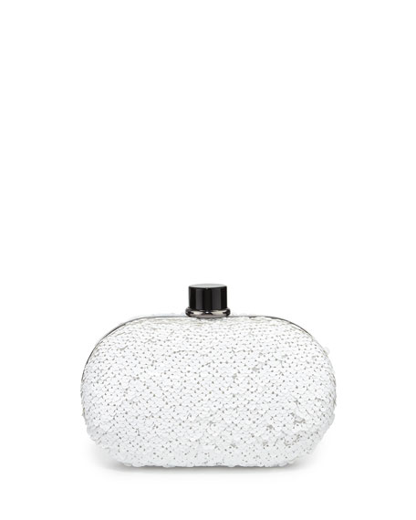 Woody Allover Sequin Clutch Bag, White
