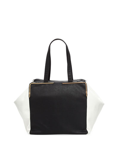 French Connection Large Prim Lady Cubed Tote Bag, Black/White