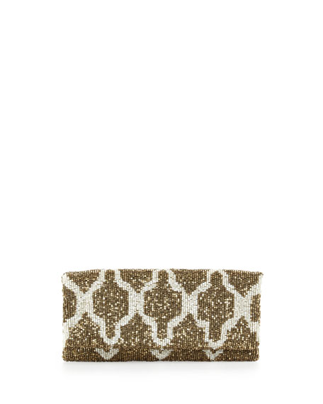Trellis Beaded Clutch Bag, Gold