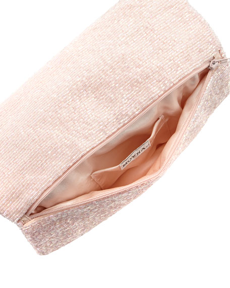 Beaded Fold-Over Clutch Bag, Light Pink