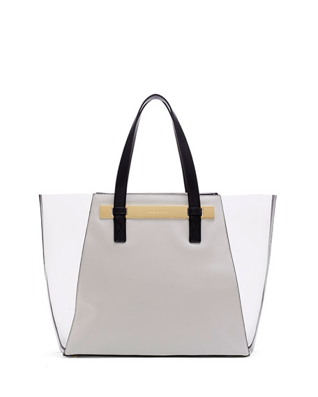 Jace Colorblocked Combo Tote Bag, Snow White/Gray/Black