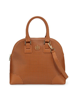 Tory Burch Robinson Small Perforated Dome Satchel Bag, Luggage