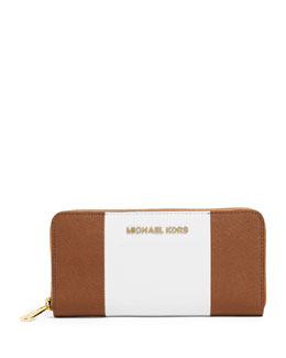 MICHAEL Michael Kors  Large Jet Set Center-Stripe Zip-Around Wallet