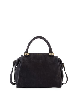 Lanvin Trilogy Croc-Embossed Bowling Satchel Bag, Black