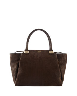 Lanvin Trilogy Croc-Embossed Tote Bag, Dark Brown