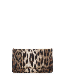 Lanvin Leopard-Print Envelope Clutch Bag