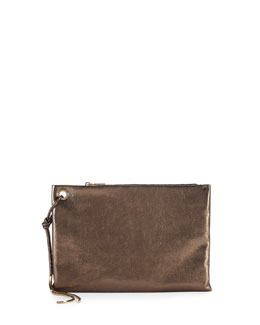 Lanvin Metallic Leather Clutch Bag, Bronze