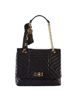 Lanvin Happy Quilted Leather Medium Shoulder Bag, Black