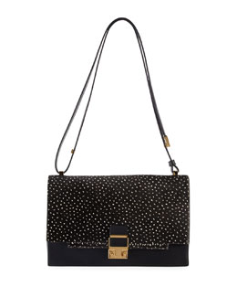 Lanvin Partition Calf Hair Shoulder Bag, Black