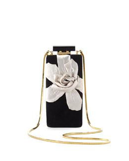 Lanvin Vertical Floral Velvet Minaudiere, Black
