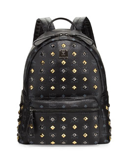 MCM Stark Studded Medium Backpack, Black