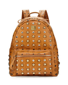 MCM Stark Studded Medium Backpack, Cognac