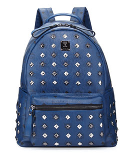 MCM Stark Studded Medium Backpack, Dress Blues