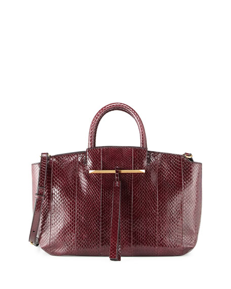 Gena East-West Snake Tote Bag, Crimson