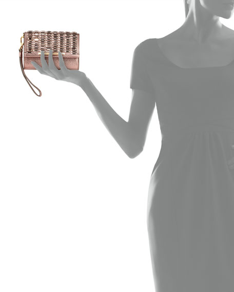 Tippy Metallic Crystal Wristlet Clutch Bag, Blush