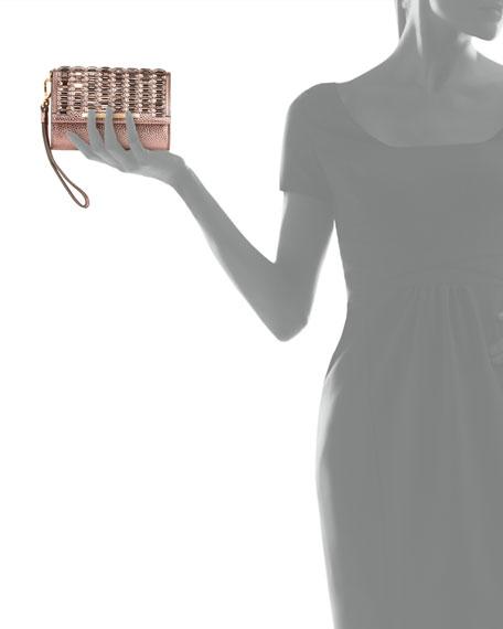 Tippy Metallic Crystal Wristlet Clutch Bag, Blush