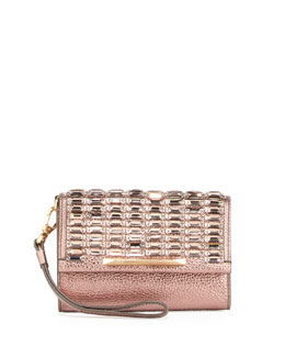 B Brian Atwood Tippy Metallic Crystal Wristlet Clutch Bag, Blush