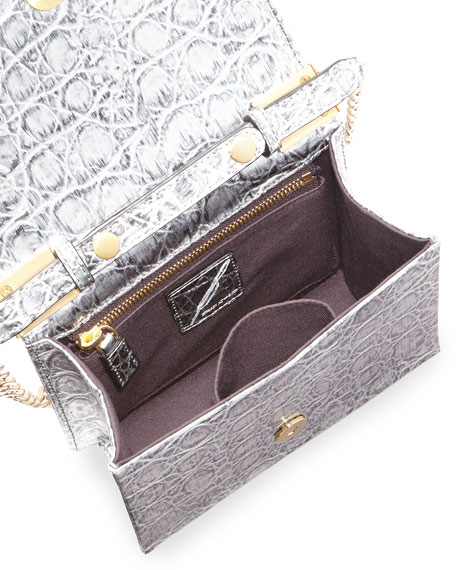 Ava Metallic Croc-Print Shoulder Bag, Silver