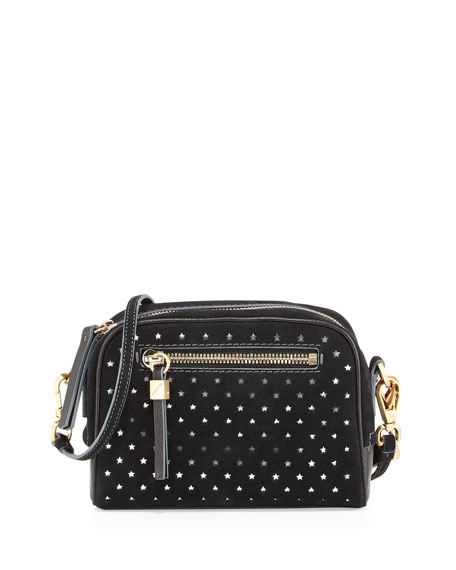 Barbara Star Perforated Suede Crossbody Bag, Black