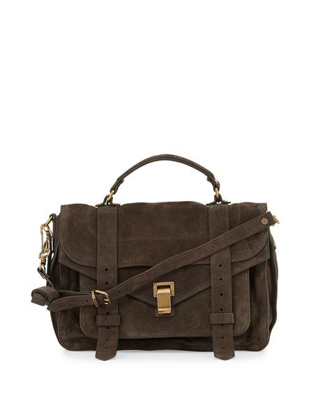 PS1 Suede Medium Satchel Bag, Gray